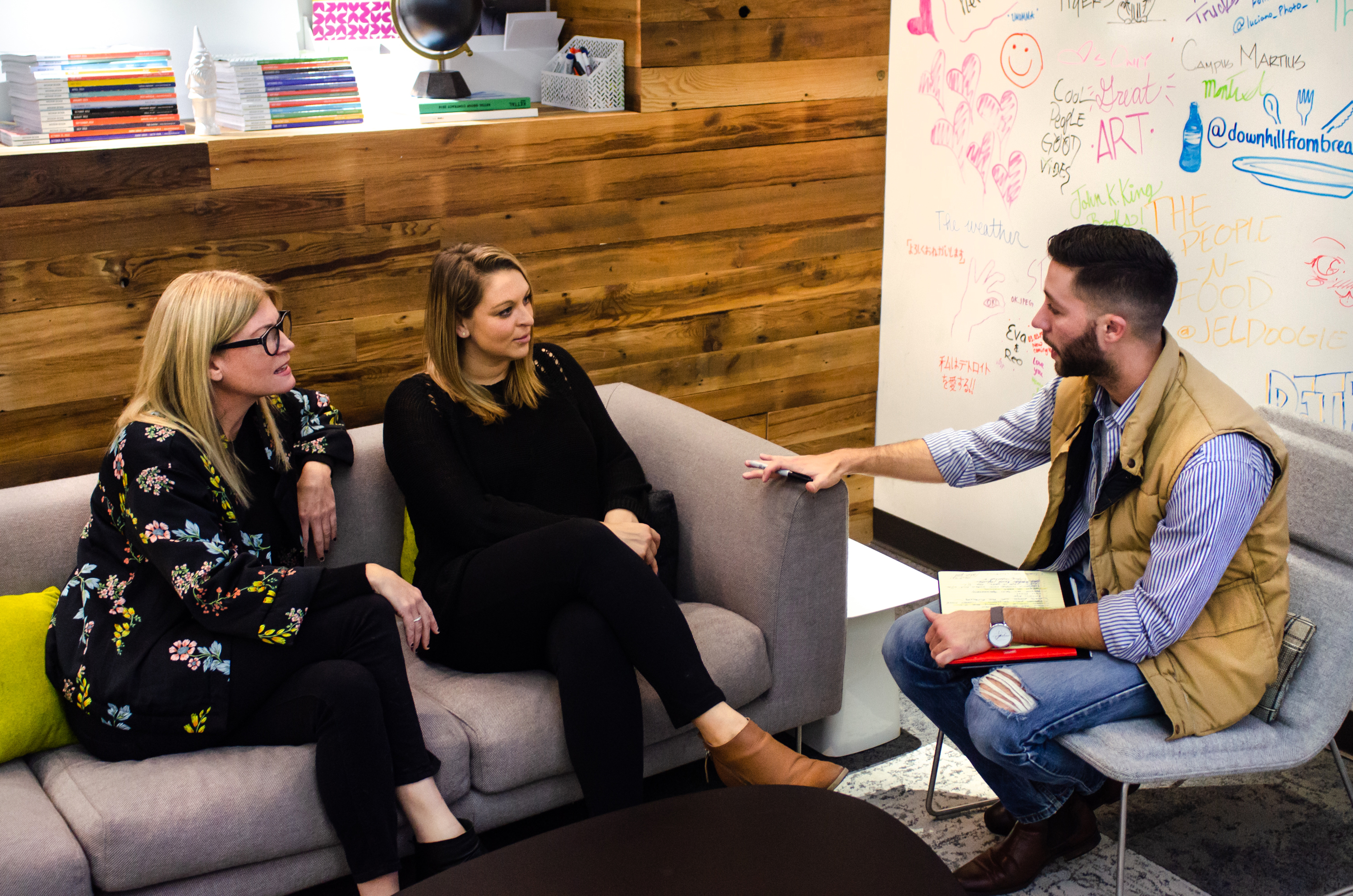 furniture DCTC'S CHRISTOPHER STEFANI INTERVIEWS MEREDITH VYN AND ERICA KIMBER. PHOTO JC