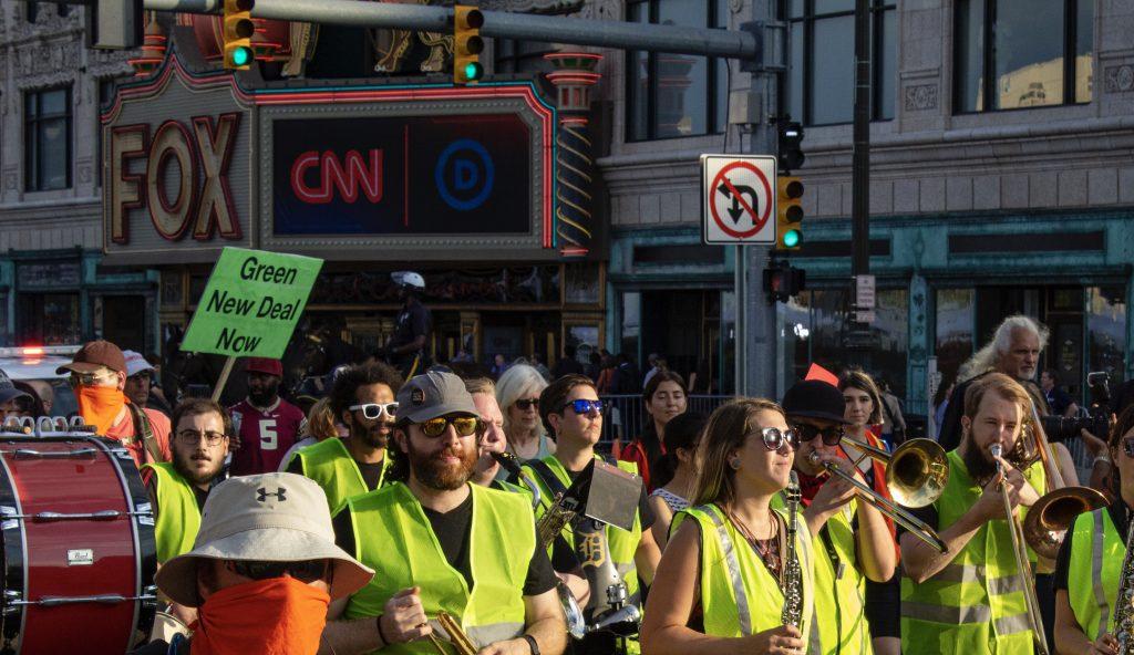 Debate protests outside of the Fox Theatre. Photo: John Boznick