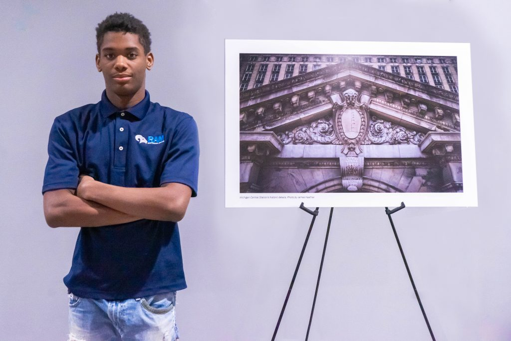 MIGUEL LIGON, AN 18-YEAR-OLD HIGH SCHOOL TRADE APPRENTICE WORKING ON THE MICHIGAN CENTRAL STATION. PHOTO ACRONYM