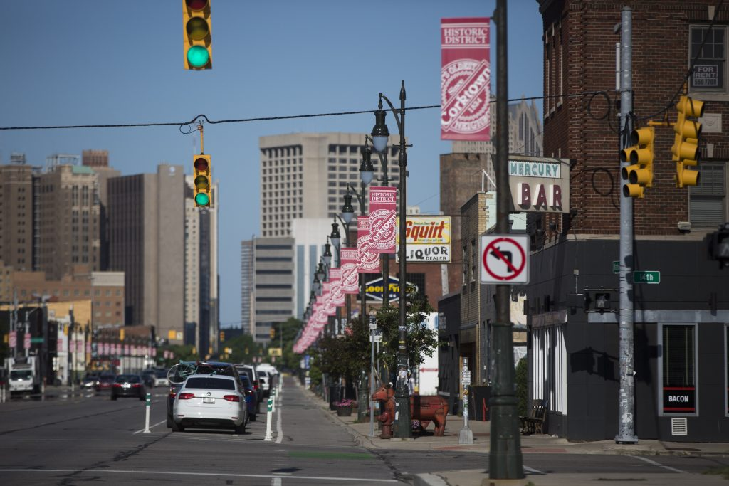 THE EASTBOUND VIEW ON MICHIGAN AVENUE IN THE HEART OF CORKTOWN, DETROIT