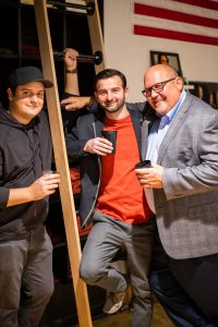 GETTEES FOUNDER, MAT HUNT, (LEFT) WITH GUESTS DURING THE OPENING OF THE FLAGSHIP STORE. PHOTO BY GETTEES