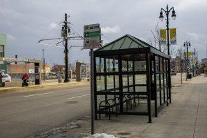 A BUS STOP ON WOODWARD AVENUE. PHOTO JOHN BOZICK