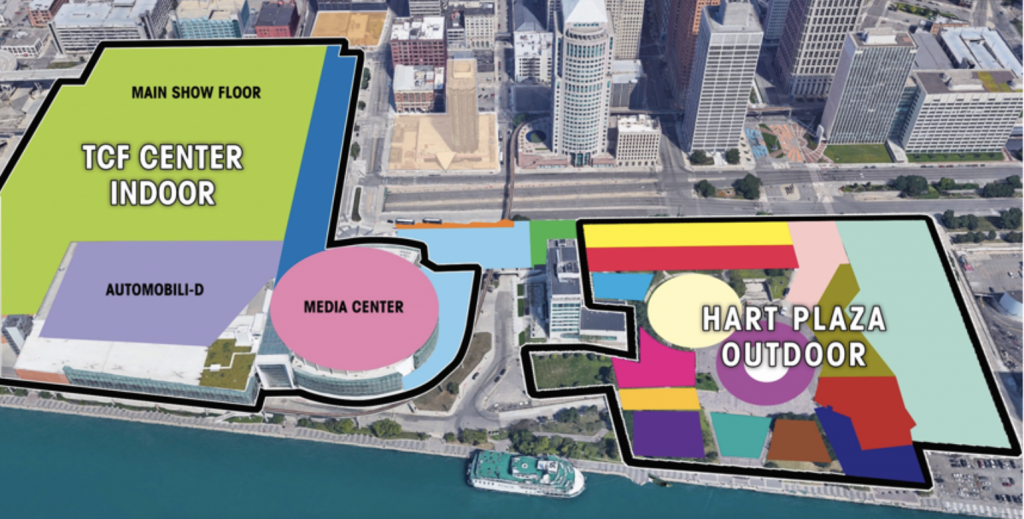 FUTURE LAYOUT OF THE NAIAS 2020 TAKING SHAPE IN THE CITY CENTER. IMAGE COURTESY OF NAIAS