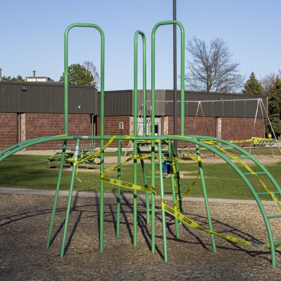 TEACHING AMID PANDEMIC: THE PLAYGROUND OF A METRO DETROIT SCHOOL REMAINS CLOSED AMID THE COVID-19 CRISIS. PHOTO JOHN BOZICK