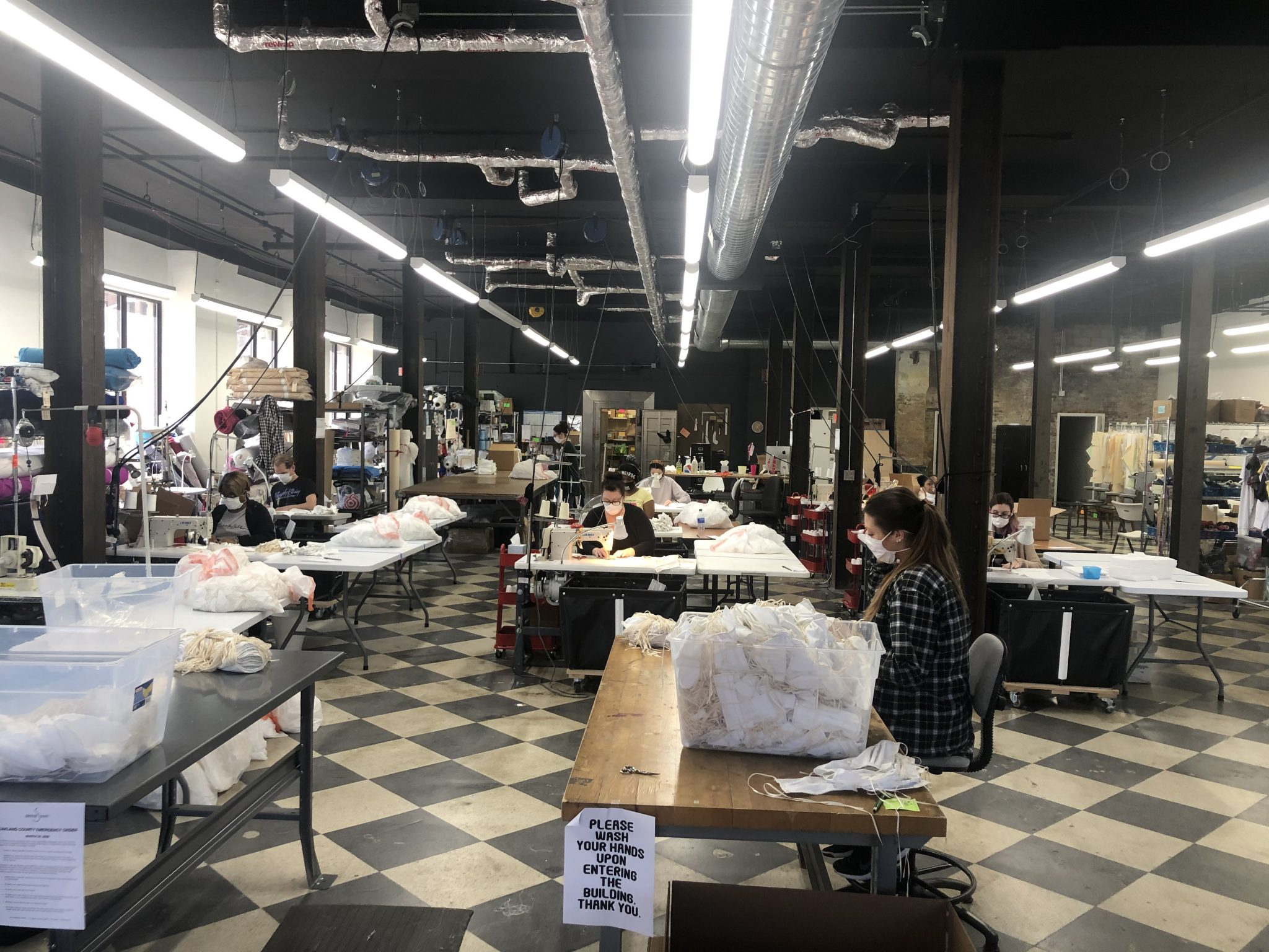 THE PRODUCTION OF MASKS AT DETROIT SEW. PHOTO DETROIT SEW