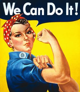 """ICONIC ROSIE THE RIVETER POSTER WITH THE WORDS """"WE CAN DO IT"""""""