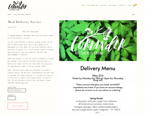 URBAN FARMING A SCREENSHOT OF THE DELIVERY MENU OFFERED BY CORIANDER KITCHEN AND FARM.