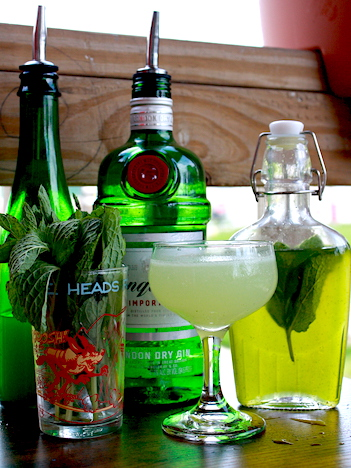 INGREDIENTS FOR EVERITT'S SOUTHSIDE; TANQUERAY, LIME, AND BLANCHED MINT SYRUP