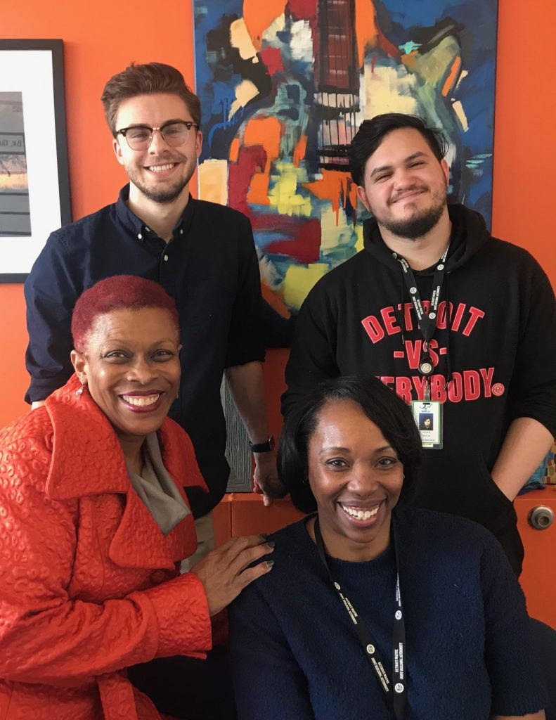 ACE DIRECTOR ROCHELLE RILEY (LEFT) HANGS WITH THE ACE TEAM AFTER THE OFFICIAL WINTER ANNOUNCEMENT OF THE CITY'S STRATEGIC PLAN FOR THE ARTS. SHE IS JOINED BY (FROM LEFT) ROB SWETLIC, KIM THEUS AND XAVIER CUEVAS