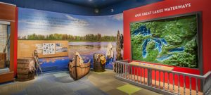 AN EXHIBIT INSIDE THE DOSSIN GREAT LAKES MUSEUM. PHOTO DETROIT HISTORICAL SOCIETY