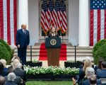 JUDGE AMY CONEY BARRETT SPEAKS AT THE WHITE HOUSE DAYS BEFORE HER CONFIRMATION TO THE SUPREME COURT. PHOTO ANDREA HANKS