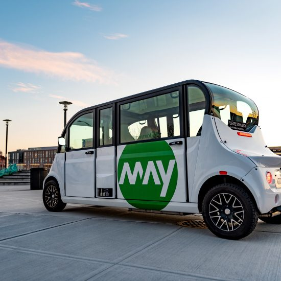 future of mobility: A MAY MOBILITY AUTONOMOUS SHUTTLE. PHOTO MAY MOBILITY