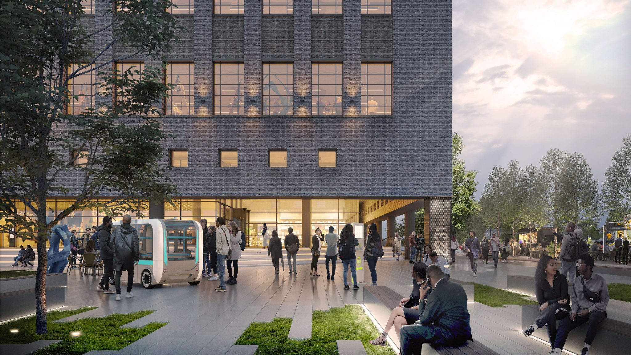 AN OUTSIDE RENDERING OF THE BOOK DEPOSITORY. PHOTO GENSLER