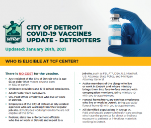 VACCINES PHOTO FROM THE CITY OF DETROIT.