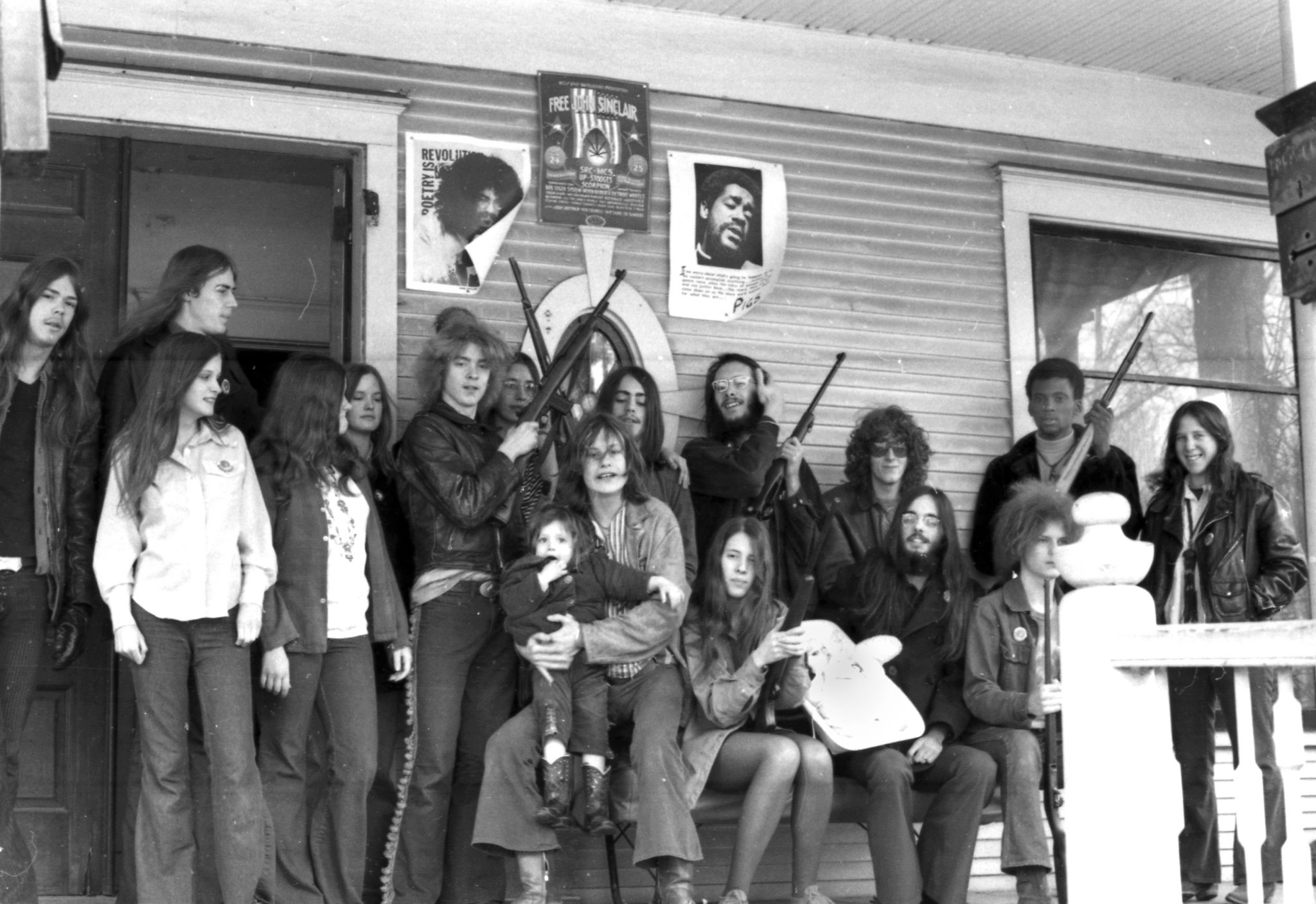 MEMBERS OF THE WHITE PANTHER PARTY IN DETROIT. PHOTO FROM MOCAD / SHOT BY LENI SINCLAIR
