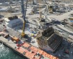 HUDSON SITE // PHOTO OF WORK BEING DON EON THE US SIDE OF THE DETROIT RIVER // US BRIDGE SITE PROGRESS IN JANUARY, 2021. PHOTO FROM THE GORDIE HOWE INTERNATIONAL BRIDGE