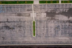 THE SACRED HEART CHURCH PARKING LOT BEFORE RENOVATION. PHOTO THE NATURE CONSERVANCY