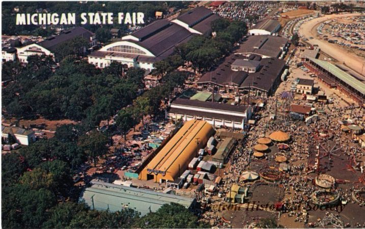 THE MICHIGAN STATE FAIRGROUNDS IN DETROIT AS SEEN ON AN OLD POSTCARD. PHOTO COURTESY OF DETROIT HISTORICAL SOCIETY