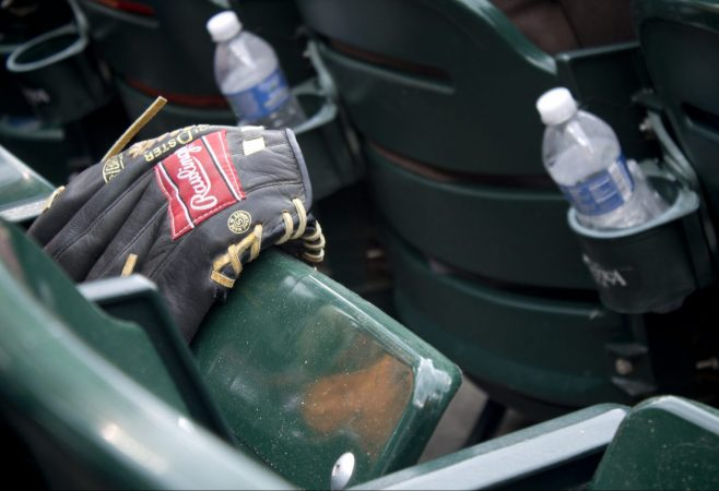 AL KALINE LONE BASEBALL GLOVE AT COMERICA. PHOTO AMI NICOLE / ACRONYM