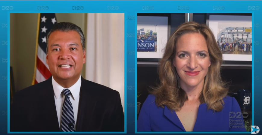 ALEX PADILLA AND JOCELYN BENSON, THE SECRETARIES OF STATE FOR CALIFORNIA AND MICHIGAN STRESS THE IMPORTANCE OF VOTING DURING THEIR SPEAKING TIME.