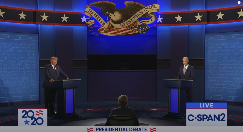 THE DEBATE BETWEEN DONALD TRUMP AND JOE BIDEN.