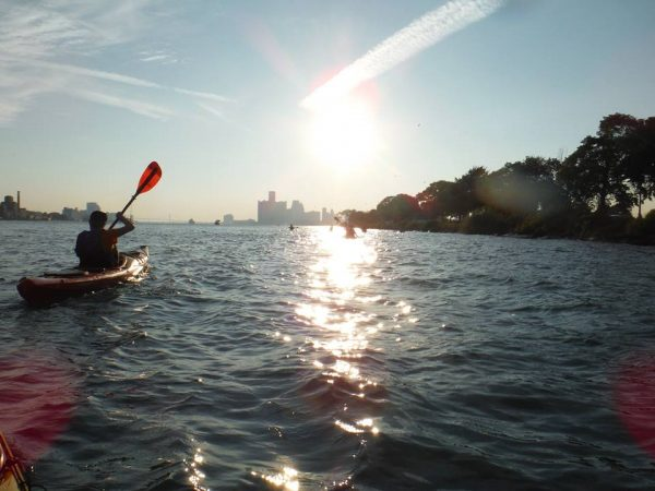 KAYAKING THE DETROIT RIVER. PHOTO RIVERSIDE KAYAK CONNECTION
