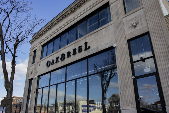STONE BUILDING WITH A SIGN ON IT // OAK & REEL, LOCATED IN THE MILWAUKEE JUNCTION NEIGHBORHOOD. PHOTO JOHN BOZICK