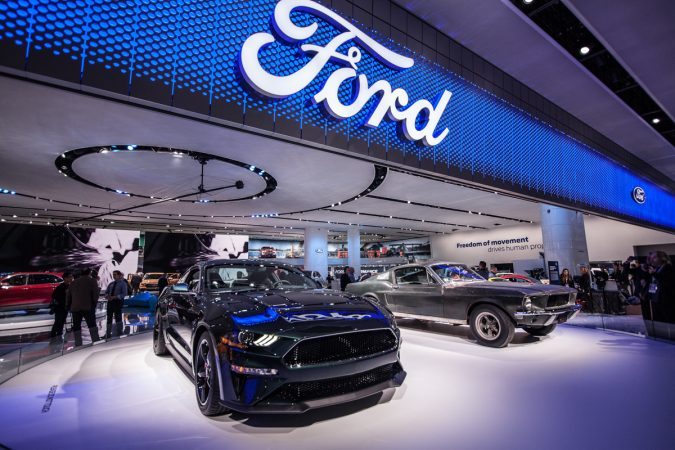 Ford reveals the new Bullitt alongside Steve McQueen's original 1968 Bullitt mustang.