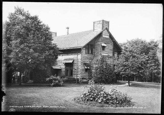 Palmer Park Log Cabin, Detroit, MI circa 1905. Courtesy Detroit Publishing Company