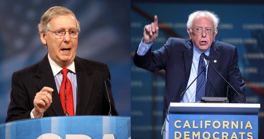 SENATE MAJORITY LEADER MITCH MCCONNELL AND SENATOR BERNIE SANDERS ARE ON OPPISATE SIDES OF THE FIGHT FOR $2000 AID CHECKS.